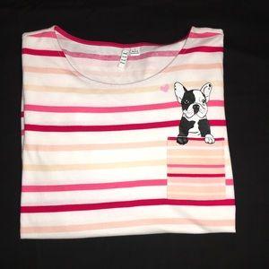 🐾NWT-Elle Striped T-shirt W/Dog On Pocket.